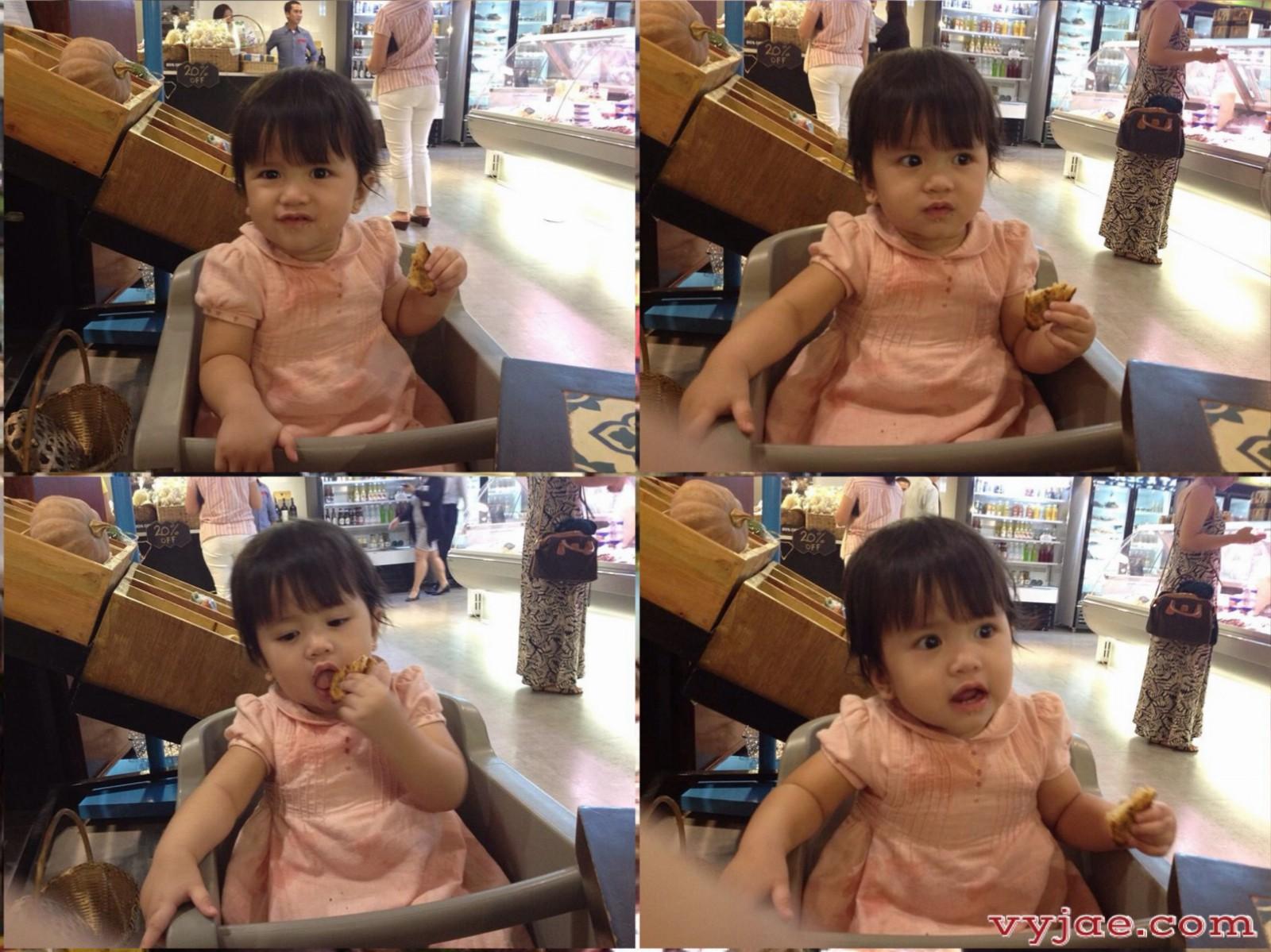 My beautiful daughter enjoying her garlic bread