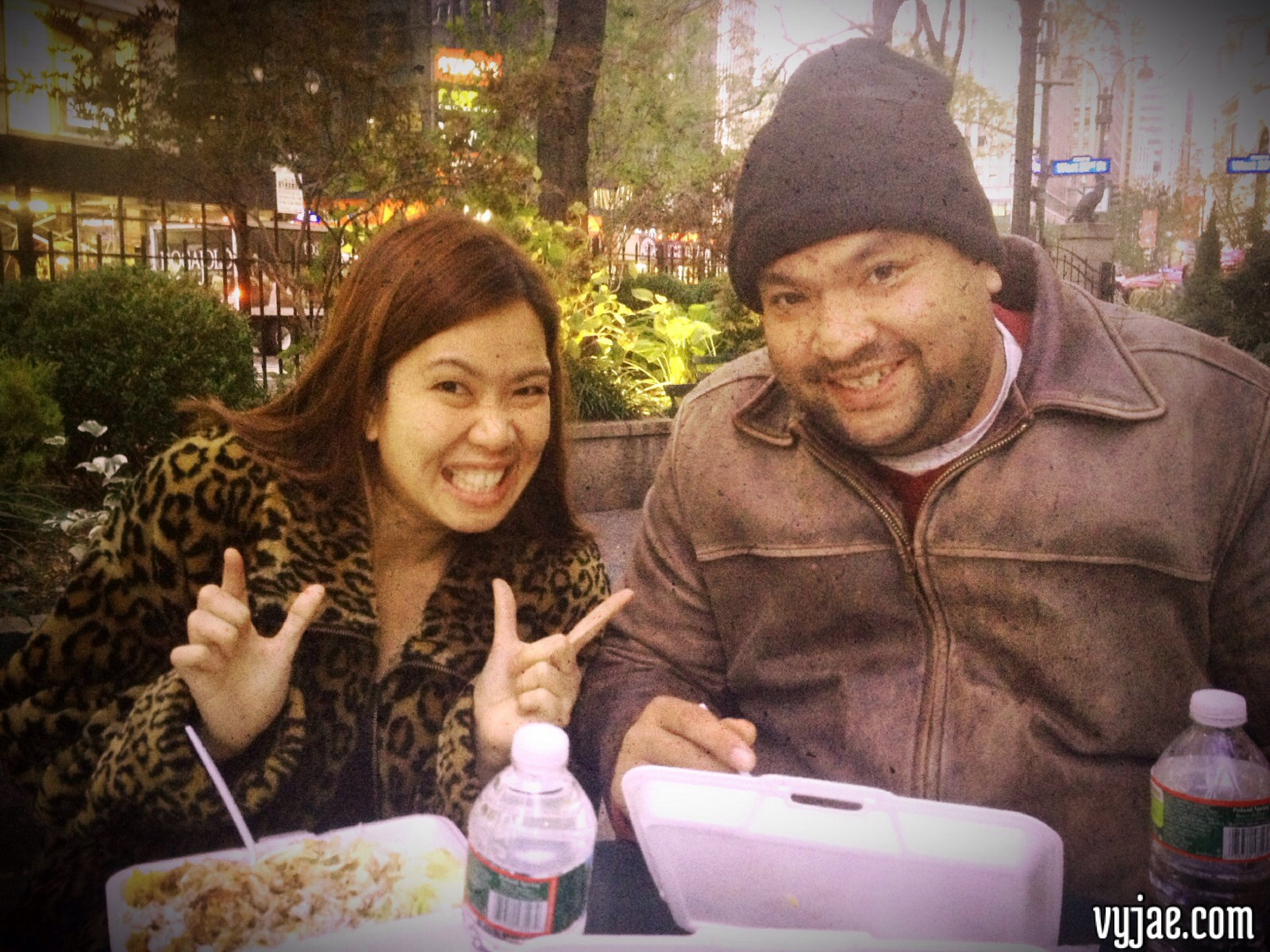 With my Sweetheart, eating Chicken & Lamb Rice in Style! LOL (@the streets of Manhattan NYC2012)