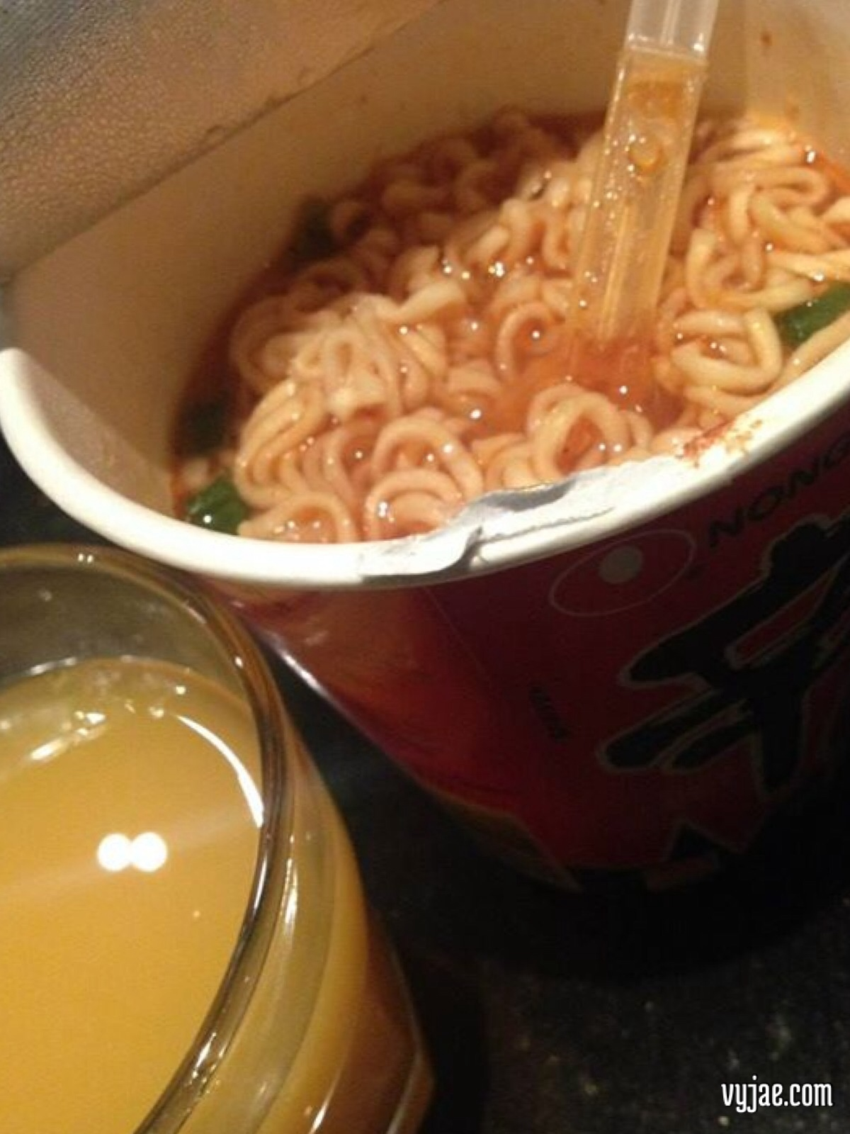 Noodle soup and fruit juice for my baby's night cap