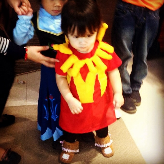 In her D-I-Y McDonald's French Fries trick or treat Costume