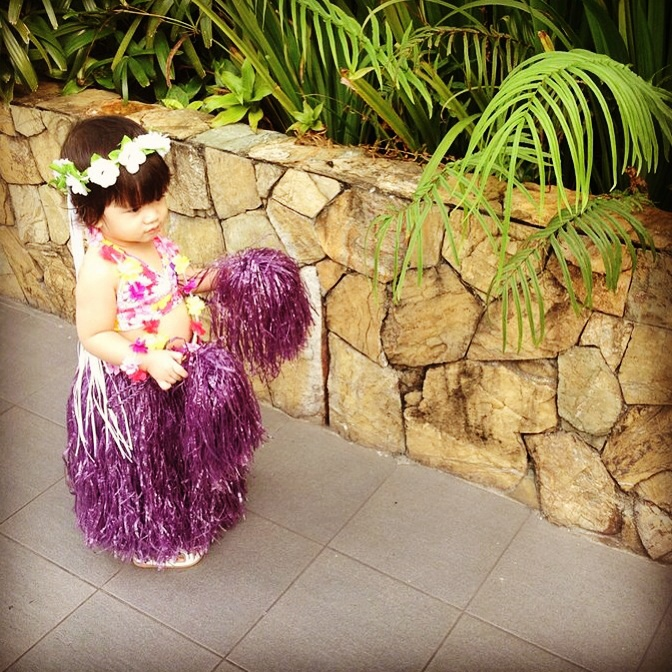 In her hawaiian outifit for a luau party